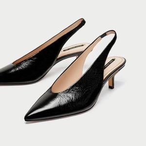 Leather Slingback Kitten Heels